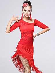 Latin Dance Outfits Women's Performance Chinlon / Milk Fiber Lace / Tassel(s) 2 Pieces Dance Costumes Black / Red