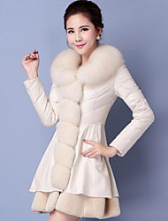 Women's Plus Size / Casual/Daily Simple Fur CoatSolid Notch Lapel Long Sleeve Winter White /