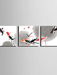 MINI SIZE E-HOME Fish In The Pond Clock in Canvas 3pcs