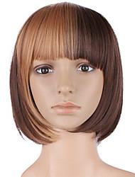 10inch donne bobo corti capelli sintetici parrucche capelli scuro marrone scuro bmb ombre pieno bang con capelli netti liberi