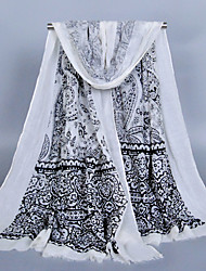 Women's Fashion Voile Totem Print Cotton Scarf White/Blue/Green/Pink/Khaki/Beige/Red