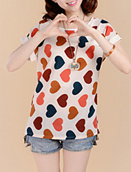 Women's Print Blouse,Round Neck Short Sleeve