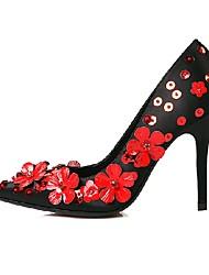 Women's Heels Spring Fall Satin Dress Stiletto Heel Flower Black Red Walking