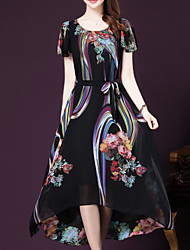 Women's Boho / Street chic Print Plus Size / Swing Dress,Round Neck Maxi Polyester