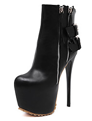 Women's Boots Double Side Zipper Double Buckle  6.5 Inch Supper High Heel Round Toe Platform Ankle Bootie/Boots Black