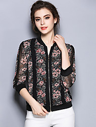 Women's Casual/Daily Vintage Summer BlouseFloral Stand  Sleeve Black Cotton / Polyester Thin