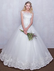 Ball Gown Wedding Dress Floor-length Scoop Tulle with Lace