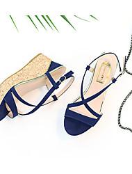 Damen-High Heels-Kleid Lässig-Vlies-KeilabsatzBlau Khaki