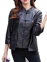 Women's Casual/Daily /  Leather Jackets Long Sleeve Black Lambskin Medium Ladies Coat 6611