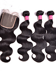 Indian Body Wave 3 bundles with Lace Closure Unprocessed Human hair weave Indian Virgin Hair with Closure