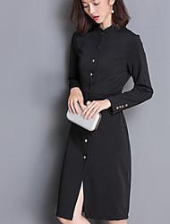 Gaine Robe Femme Grandes Tailles Sophistiqué,Couleur Pleine Mao Mi-long Manches ¾ Rouge / Noir Polyester Automne Taille Haute