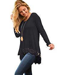Damen Solide Einfach / Street Schick Lässig/Alltäglich T-shirt,Rundhalsausschnitt Frühling / Herbst Langarm Beige / Schwarz Polyester