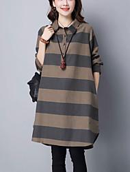 Feminino Solto / Camisa Vestido,Casual Simples Listrado Colarinho de Camisa Assimétrico Manga Longa Cinza / Amarelo Algodão / Linho