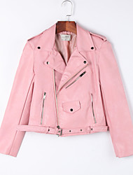 Women's Casual/Daily Cute Fall / Winter Leather JacketsSolid Shirt Collar Long Sleeve Pink / Red / Black PU Medium