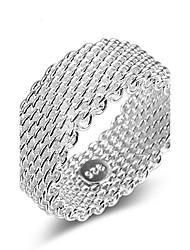 Fine 925 Silver Weave Band Ring for Women Wedding Party