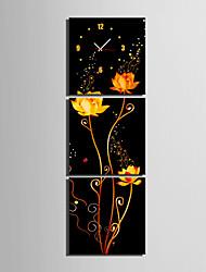 Квадратный Модерн Настенные часы , Прочее Холст40 x 40cm(16inchx16inch)x3pcs/ 50 x 50cm(20inchx20inch)x3pcs/ 60 x