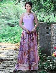 Pantalon Aux femmes Large Chinoiserie Polyester Non Elastique