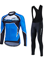 fastcute Cycling Jersey with Bib Tights Men's Long Sleeve Bike Clothing SuitsBreathable Comfortable Lightweight Materials 3D Pad Back