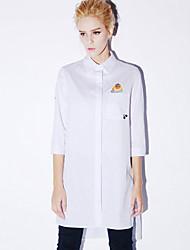 nouvelle avant occasionnel / journalier simple chemise col ressort shirtprint manches longues femmes blanches