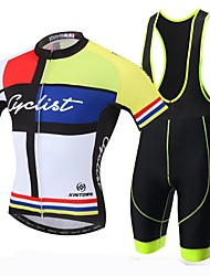 XINTOWN  Men's Breathable Printing Cycling Short Sleeve Jersey and 3D Padded Shorts Set Black