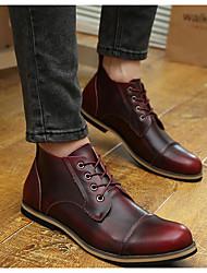 Коричневый / Красный-Мужской-На каждый день-Кожа-На толстом каблуке-Туфли Мери-Джейн-На плокой подошве