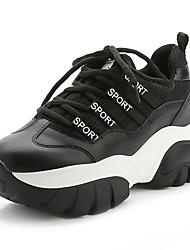 Damen-Sneaker-Lässig-PU-Flacher Absatz-Komfort-Schwarz / Weiß