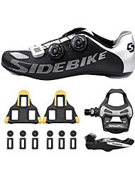 SD002 Cycling Shoes Unisex Road Bike Nylon Black /Silver-sidebike And ShimanoR550 Rock Pedals