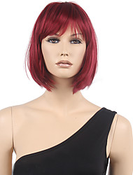 Short Fashion Sexy Wig Women Cosplay Wigs 32cm Wine Red Anime Synthetic Hair Cosplay Wig BOBO Hair with Neat Bangs