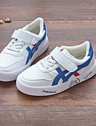 Unisex Sneakers Spring Comfort Leatherette Outdoor Flat Heel Hook & Loop White Black Walking
