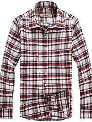 Masculino Camisa Casual / Formal Xadrez Manga Comprida Algodão Preto / Vermelho