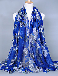 Women's Fashion Voile Flowers Print Cotton Scarf Red/Black/Brown/Blue/Gray/Green/Royal Blue