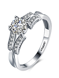 2016 Luxury Hearts And Arrows Wedding 18KGP Platinum Zircon Engagement Ring For Women