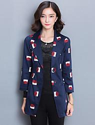 Women's Going out Simple Fall Blazer,Print Notch Lapel ¾ Sleeve Blue Cotton / Polyester Medium