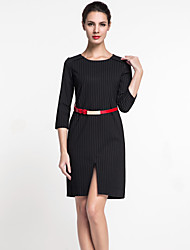 MASA  Women's Formal Simple Sheath DressStriped Round Neck Above Knee Sleeve Black Polyester Summer