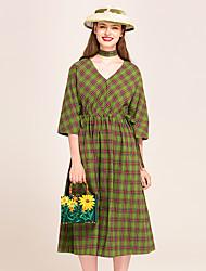 YIGELILA Women's V Neck 1/2 Length Sleeve Tea-length Dress-62065