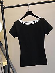 Tee-shirt Femme,Couleur Pleine Décontracté / Quotidien simple Eté Manches Courtes Col Arrondi Multi-couleur Coton Fin