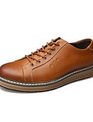 Westland's Men's Oxfords/Leather Shoes/Classic Style/Comfort/Casual Dress/Round Toe/Brown/Yellow