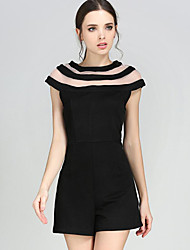 Women's Solid Black JumpsuitsSimple Round Neck Short Sleeve