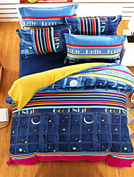 Bedtoppings Comforter Duvet Quilt Cover 4pcs Set Queen Size Flat Sheet Pillowcase Evening Moon Prints Microfiber