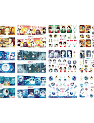 12 Designs/Set Water Transfer Nail Sticker Decals Cartoon Patterns Color Image Nail Art Label Tips BN313-324