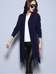 Women's Casual/Daily Sophisticated Long Cloak / CapesSolid Blue / Pink / Red / Gray Shawl Lapel Long Sleeve