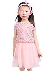 Girl's Going out Solid Dress / Blouse,Cotton / Others Summer Purple / Red / White