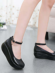 Women's Heels Crib Shoes Leather Fall Casual Crib Shoes Wedge Heel Black 1in-1 3/4in