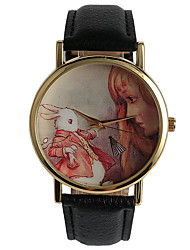Unisex Men's Women's Watch European And American Style  Girls And  White Rabbit Pattern Casual Wrist Watch
