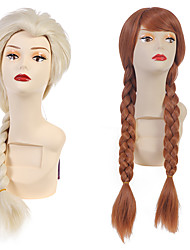 Cosplay Wig Princess Anna Wig Hollywood Costume Wig ELsa Wigs Long Hair Wigs With Ponytails