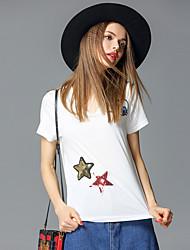 случайные / сут простой летом T-shirtsolid v шеи короткий рукав белый хлопок / спандекс средних frmz женщин