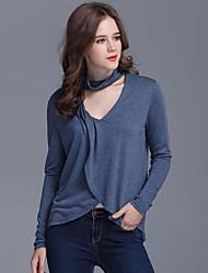 Damen Solide Einfach / Street Schick Lässig/Alltäglich T-shirt,V-Ausschnitt Frühling / Herbst Langarm Blau Polyester Mittel