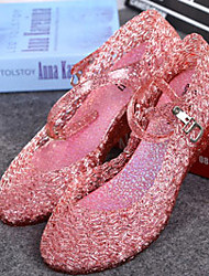 Women's Sandals Summer Sandals / Round Toe Glitter Casual Wedge Heel Sparkling Glitter Pink / Silver / Gold Others