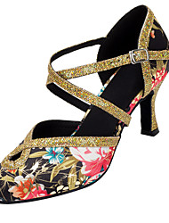 Customizable Women's Dance Shoes Satin / Paillette Latin / Modern Sandals / Heels Customized Heel Professional / Indoor