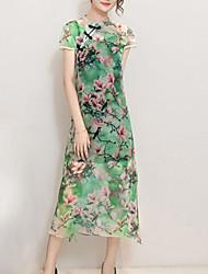 Mulheres Vestido Chifon Vintage Floral Médio Colarinho Chinês Poliéster